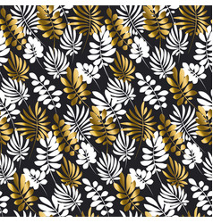 Black and gold luxury tropical leaves seamless vector