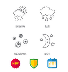 weather snowflakes and rain icons moon night vector image