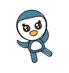 drawing penguin animal character vector image