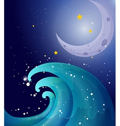 An image of a big wave and a moon vector image