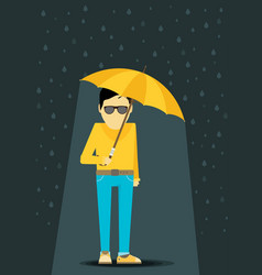 Flat man with umbrella standing under the rain vector