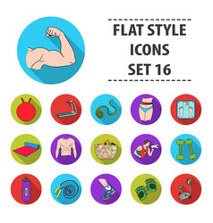 sport and fitness set icons in black style big vector image