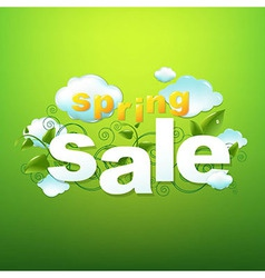 Spring Sale Poster With Green Background vector image