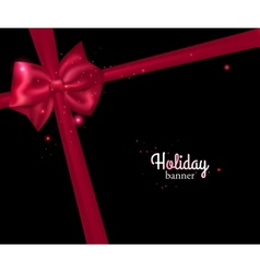 Elegant holiday banner with photorealistic red bow vector