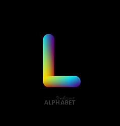 3d iridescent gradient letter l vector image