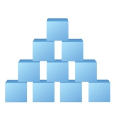 Blue pyramid from cubes vector