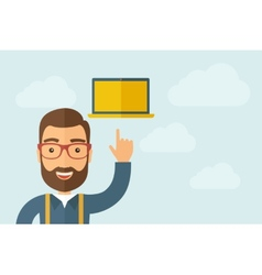 Man pointing the laptop icon vector