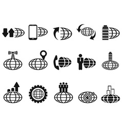 black global business icons set vector image