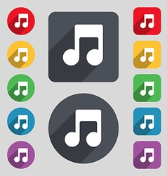Music note icon sign a set of 12 colored buttons vector