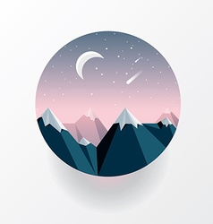 Smooth polygonal landscape design in circle vector