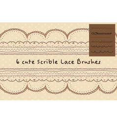 Six cute hand written style or scribble style lace vector