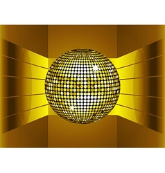 Golden disco ball on golden metallic environment vector