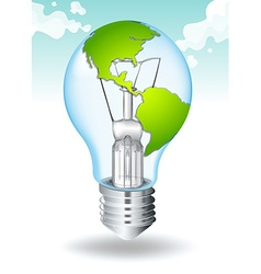 Save energy with earth and light vector