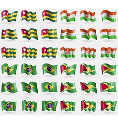 Togo niger brazil guyana set of 36 flags of the vector
