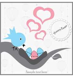 bird sitting on a branch with eggs vector image