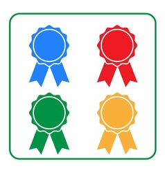 Ribbon award icons set 2 vector