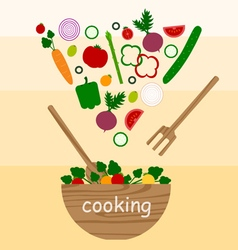Cooking vegetables salad vector