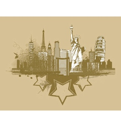 vintage city background vector image