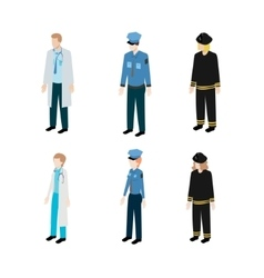 Set occupations police firefighters and doctors vector