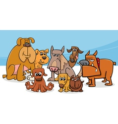 dogs group cartoon vector image