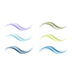Abstract colored wave set on white background vector