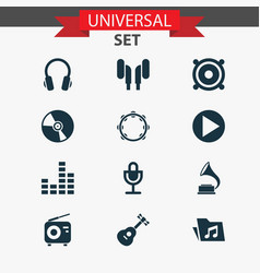 Audio icons set collection of mike instrument vector