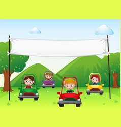 Banner template with kids in cars vector