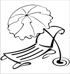 Black and white contour umbrella vector image vector image
