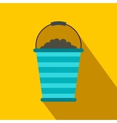 Bucket of turf flat icon vector