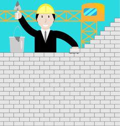 Businessman building a brick wall vector image