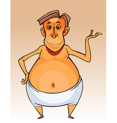 Cartoon character big bellied man in shorts vector