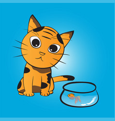 Cat wants to eat fish vector