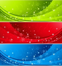 Christmas color banner with snowflakes vector