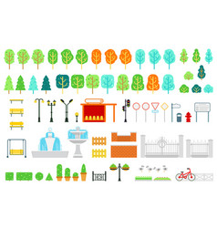 city and park map elements in flat design vector image vector image