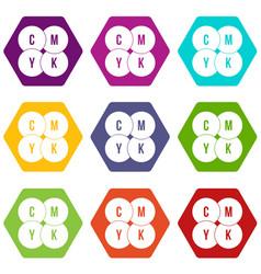 cmyk circles icon set color hexahedron vector image vector image