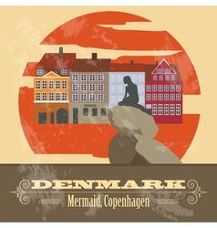 Denmark landmarks retro styled image vector