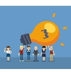 Group of business people holding lightbulb vector image vector image