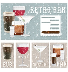 grunge retro poster of bar with glasses of vector image vector image