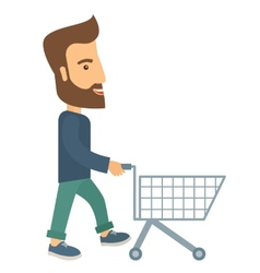 Man with empty cart vector
