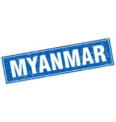 Myanmar blue square grunge vintage isolated stamp vector