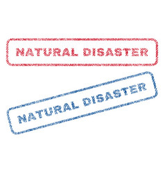 Natural disaster textile stamps vector