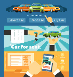 online automobile rental business banner set vector image