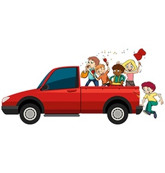 People playing musical instruments on the truck vector image vector image