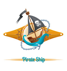 pirate ship label vector image vector image