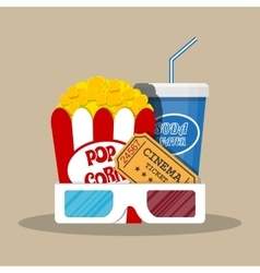 Retro movie set cinema items vector