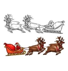 Santa reindeer sleigh gift bag sack sketch vector