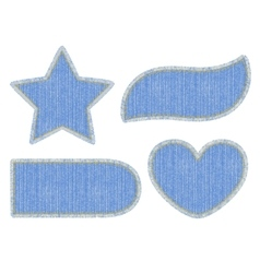 Set of denim patches vector image vector image