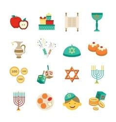 Symbols of hanukkah icons set vector