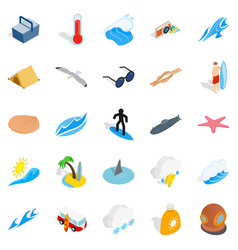 Waves icons set isometric style vector