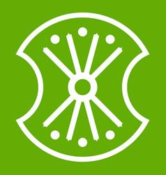 Wooden shield icon green vector
